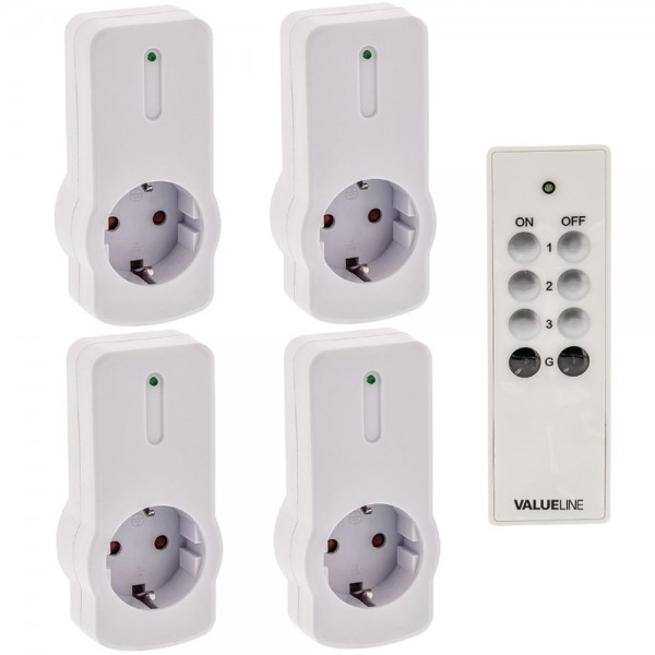 4x Funksteckdose mit Fernbedienung Set Steckdosen Funk Schalter CEE 7/3 Weiß