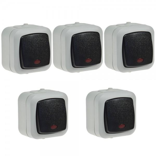 5x Wechselschalter IP44 Wippschalter Kontroll Schalter 10A 250V Feuchtraum Aufputz