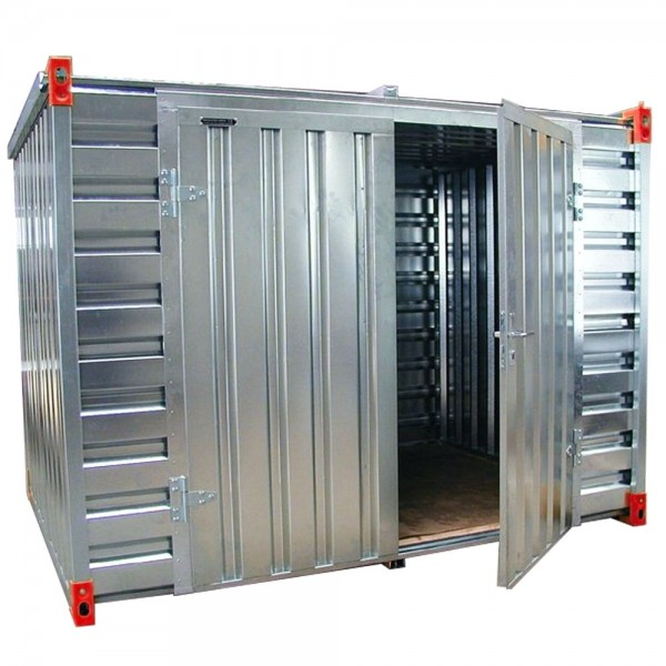 3m Lagercontainer Baucontainer Container mit Doppelflügeltür Lange Seite