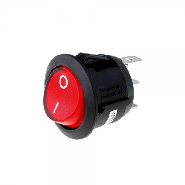 3x Netzschalter Schalter Wippschalter rund 3 pol. mit Signallampe rot