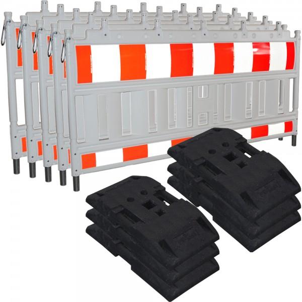 5x Euro-Schrankenzaun Bauzaun Baustellenzaun Absperrzaun Set mit TL- Fußplatten