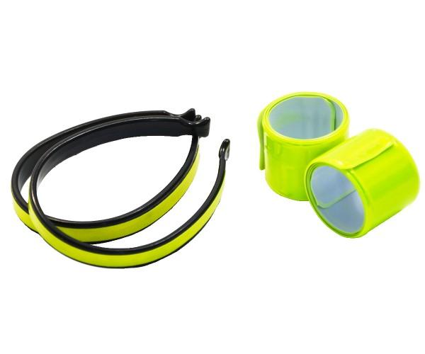 Reflektorband Hosenklammern mit Reflektorstreifen Reflektoren-Set 4-teilig DIN-EN 13356