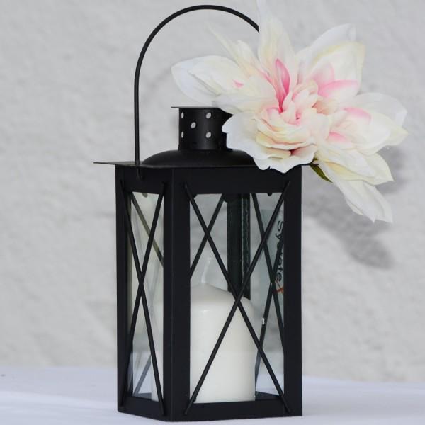 Systafex Laterne Gartenlaterne Schwarz Kerzenhalter Gartenlampe 17 cm klein